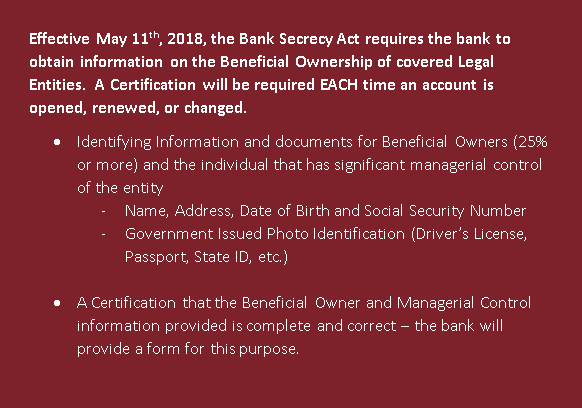 Bank Secrecy Act Requirement for Business Accounts