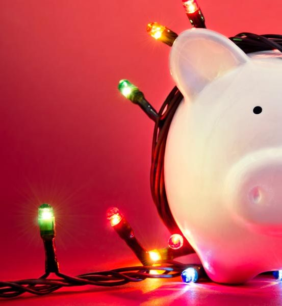 Holiday savings in piggy bank