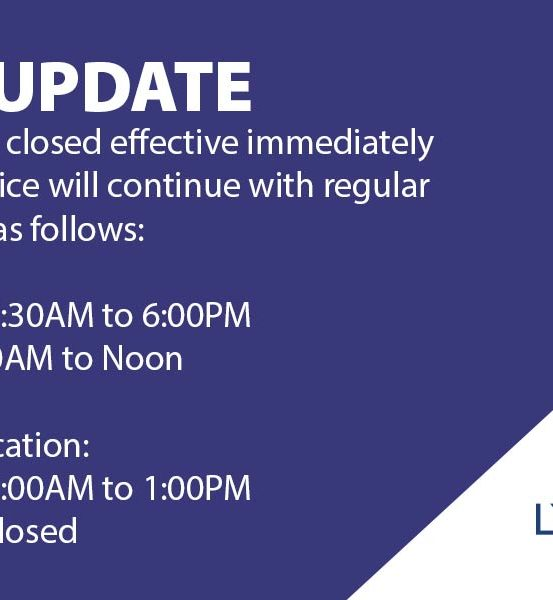 LCSB lobbies are closed until further notice. Drive-thru service will continue with regular hours as follows. Monday to Friday from 7:30 am to 6 pm. Saturday from 8:30 am to noon. At the Madison branch, hours are Monday to Friday 9 am to 1 pm and closed on Saturday.