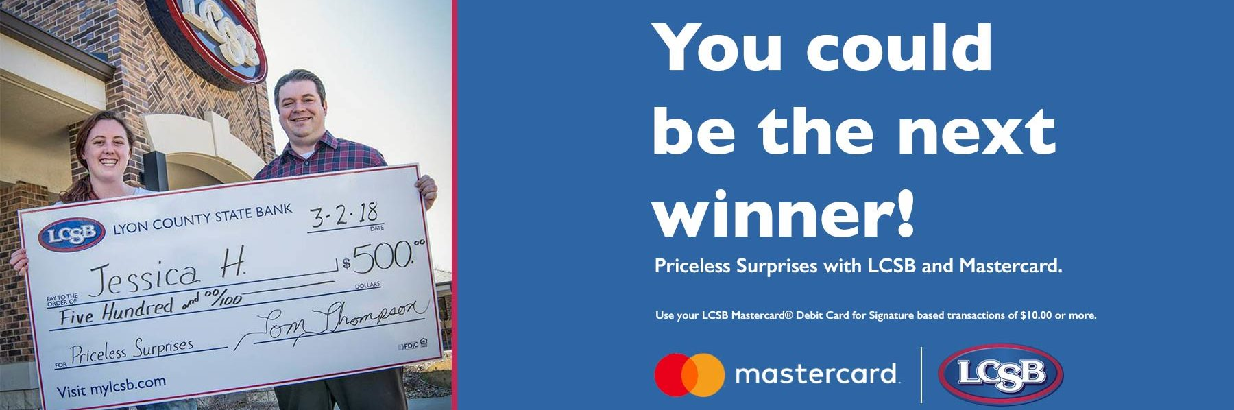Happy customer with their prize from Mastercard Surprises contest
